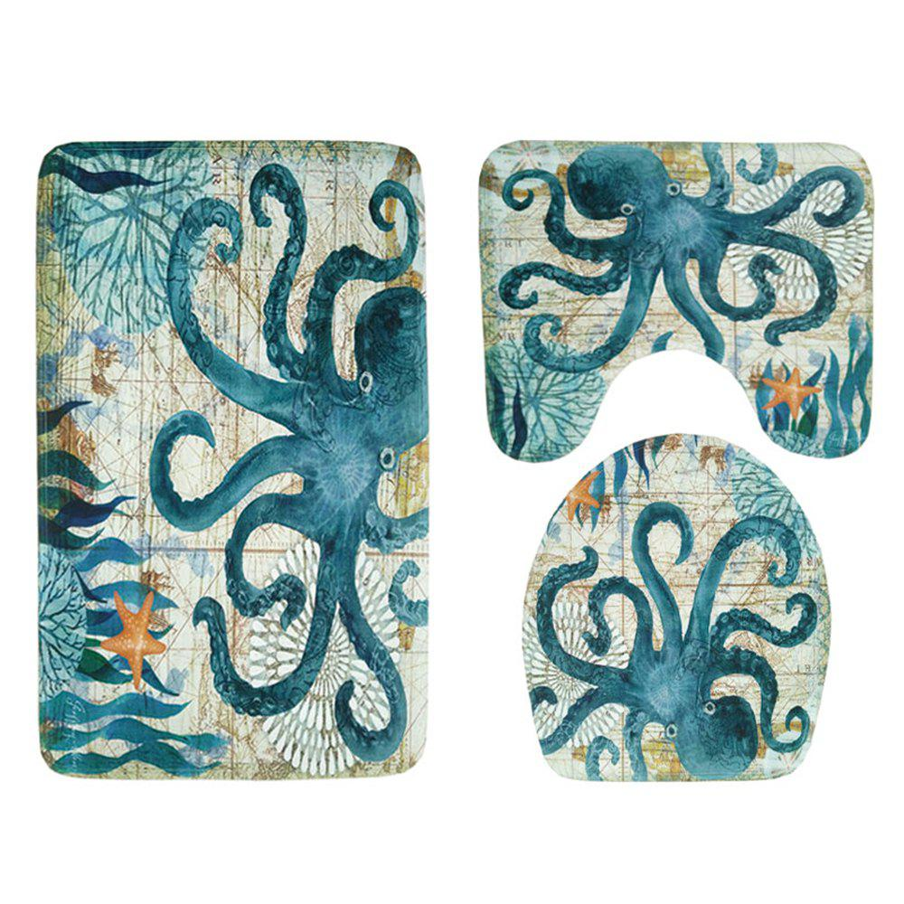 Turtle Octopus Print Bathroom Bathroom Toilet Mat Three-Piece