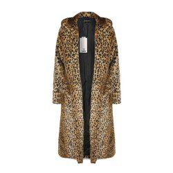 HAODUOYI Women'S Main Leopard Fur Coat Double Pocket Long Female Jacket Leopard -