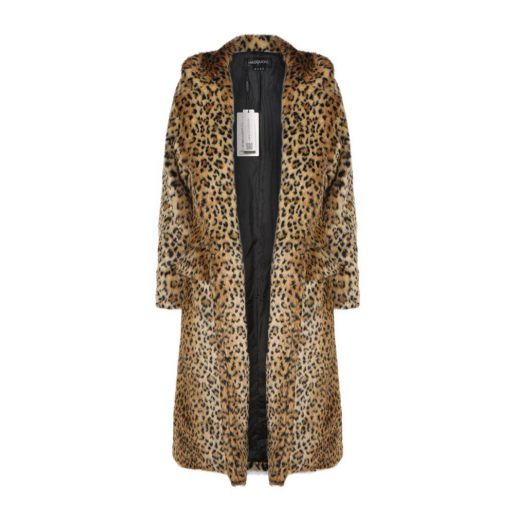 Shop HAODUOYI Women'S Main Leopard Fur Coat Double Pocket Long Female Jacket Leopard