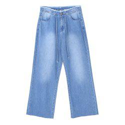Fashion  Belted High Waist Jeans Cropped Ladies Jeans -
