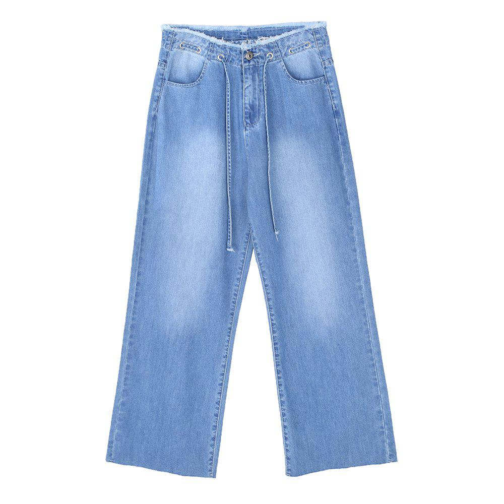 Outfits Fashion  Belted High Waist Jeans Cropped Ladies Jeans