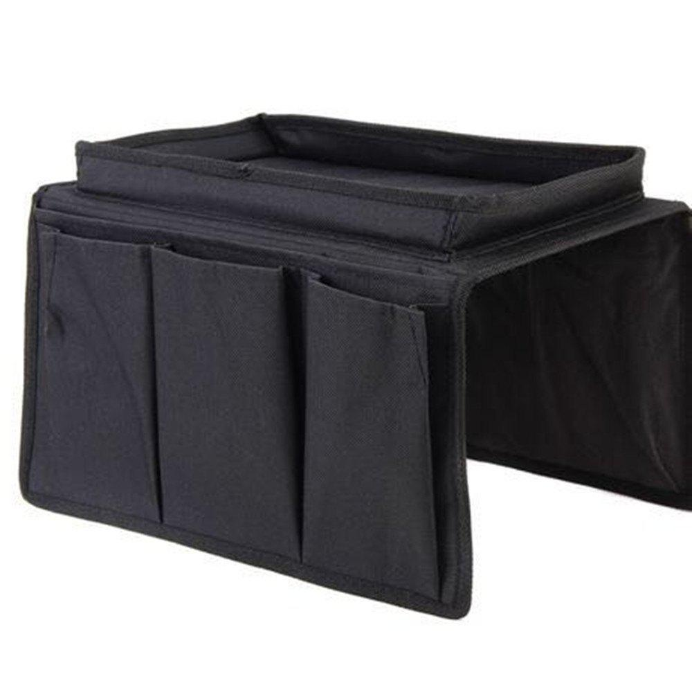 Sofa Armrest Organizer Couch Storage Bag with Cup Holder Tray TV Remote Control