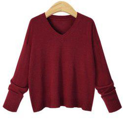 Pull femme col V manches longues -