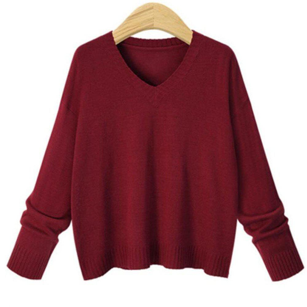 Pull femme col V manches longues