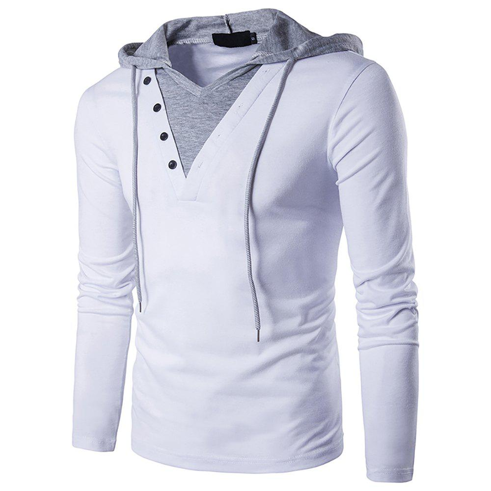 Men's Personality Long Sleeve Color Matching Hooded T-shirt