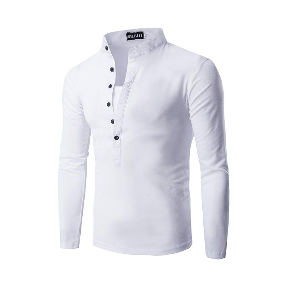 Men's Solid Color Collar Button Placket Long-sleeved T-shirt