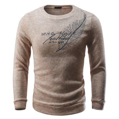 Men Pullover Sweater Round Neck Long Sleeve Printed Slim Fit Knit