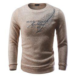 Men Pullover Sweater Round Neck Long Sleeve Printed Slim Fit Knit -