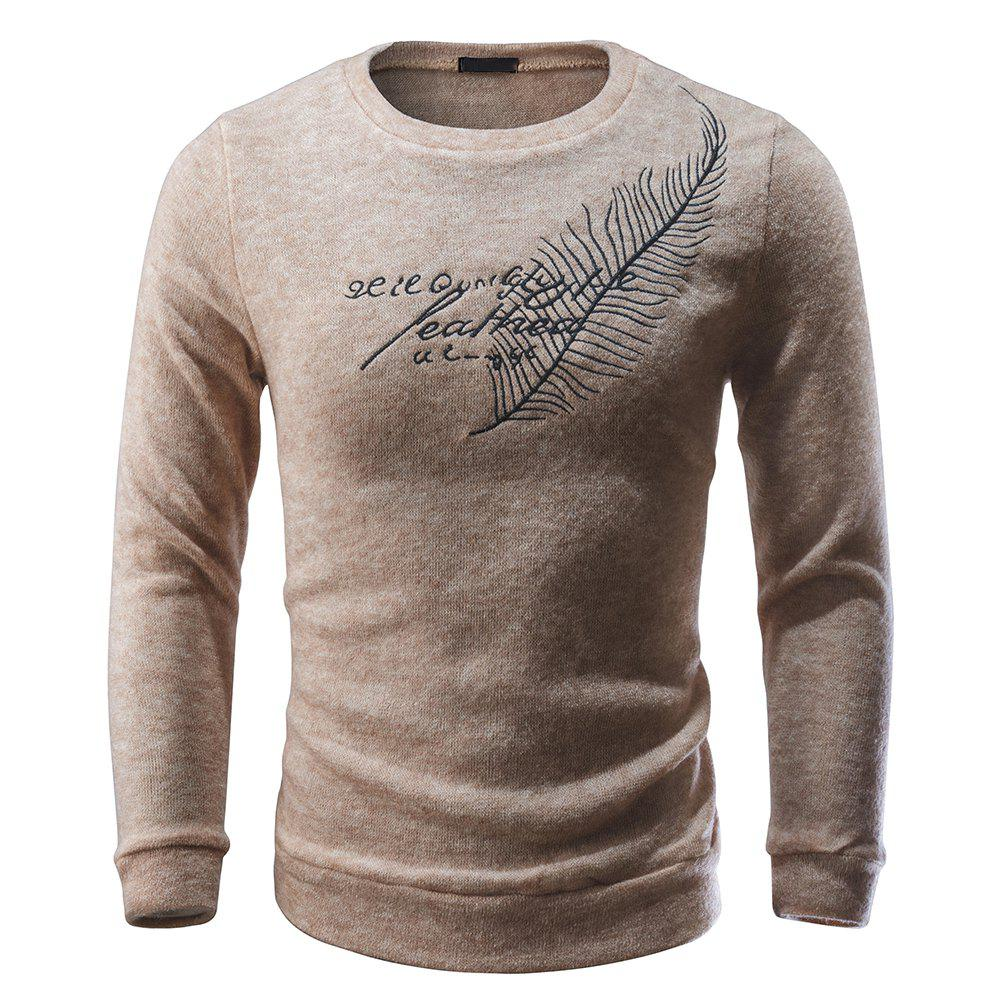 Shop Men Pullover Sweater Round Neck Long Sleeve Printed Slim Fit Knit