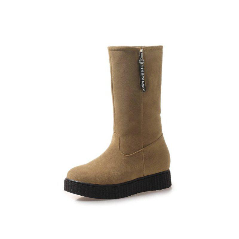 Trendy Round Head Flat Fashion Boots