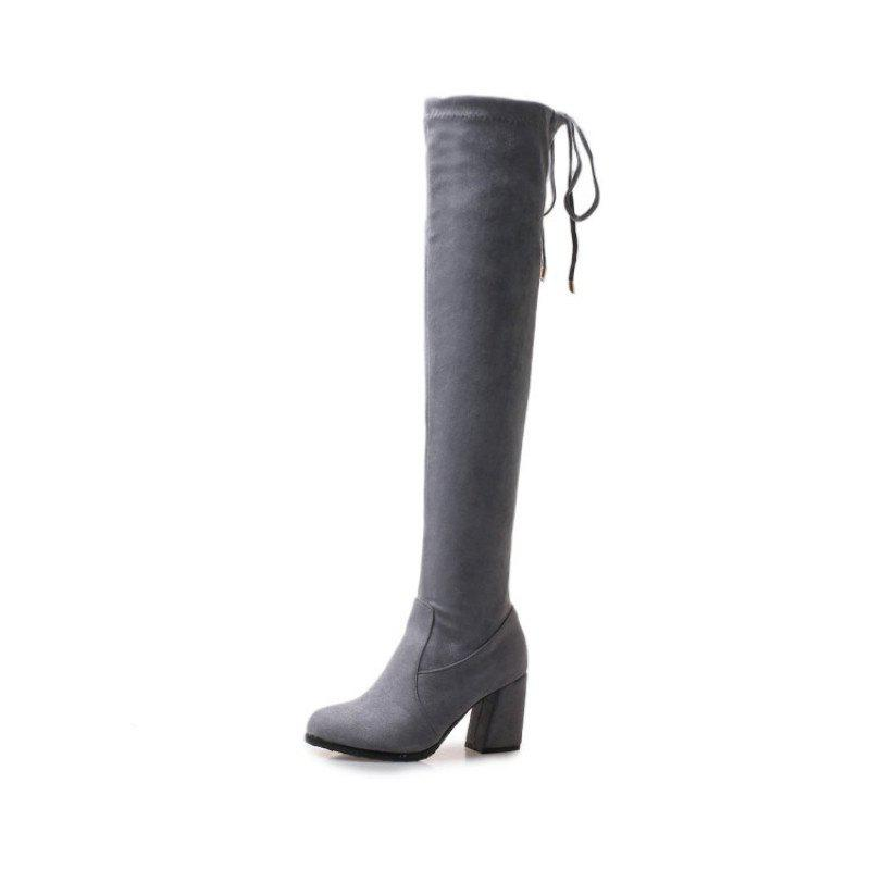 Fashion Round Head and High Heel Sexy Lady'S Knee Boots