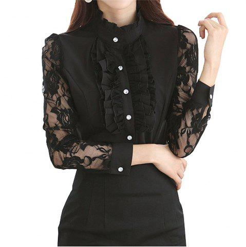 New Ladies Office Clubbing Top Chiffon Victorian Shirt Lace Women Blouse