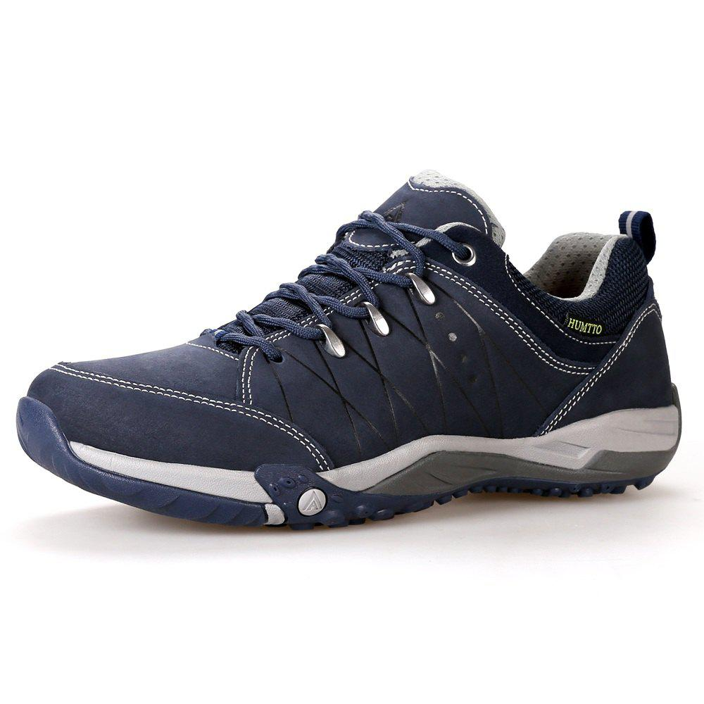 Hot HUMTTO Mens Walking Shoes Lace-Up Traveling Camping Leather Low Sports Shoes