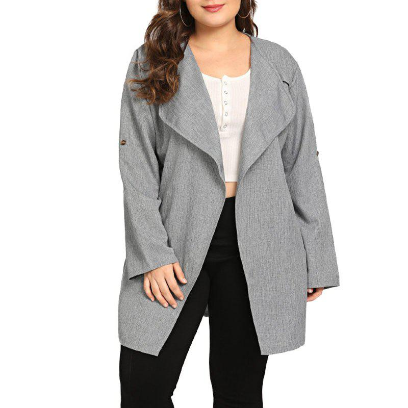 Hot Solid Color Loose Lace Up Long Sleeve Casual Trench Coat
