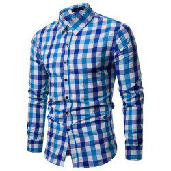 Men's Plaid Casual Fashion  Long Sleeve Shirt -