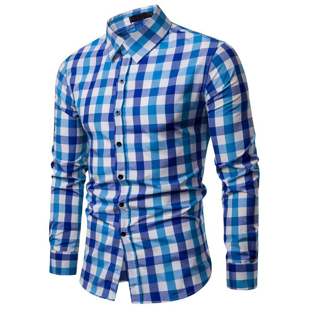 Shop Men's Plaid Casual Fashion  Long Sleeve Shirt