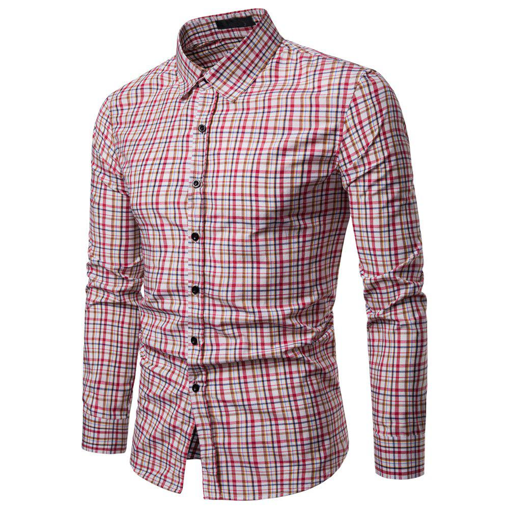 Hot Men's  Business Casual Color Stripe Fashion Long Sleeve Shirt