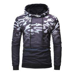Men's Fashion Gradient Color Camouflage Leisure Wild Hoodie Sweater -
