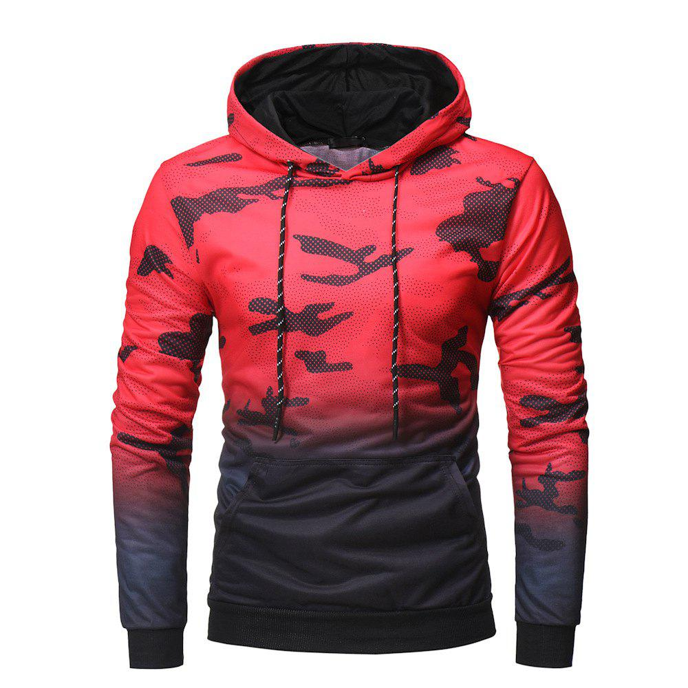 Chic Men's Fashion Gradient Color Camouflage Leisure Wild Hoodie Sweater