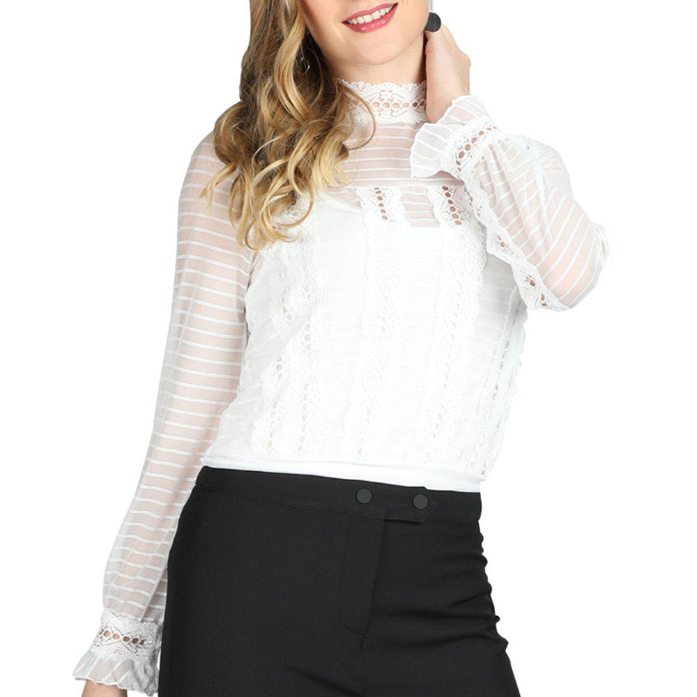 5b9a64013 Sale SBETRO Female Striped Shirt Sheer Lace Chiffon Blouse Long Sleeve  Spring Summer