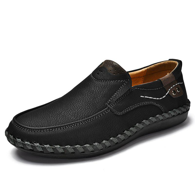Men Flat Bottom Comfortable Soft Bottom Casual Oxford Driving Shoes, Black