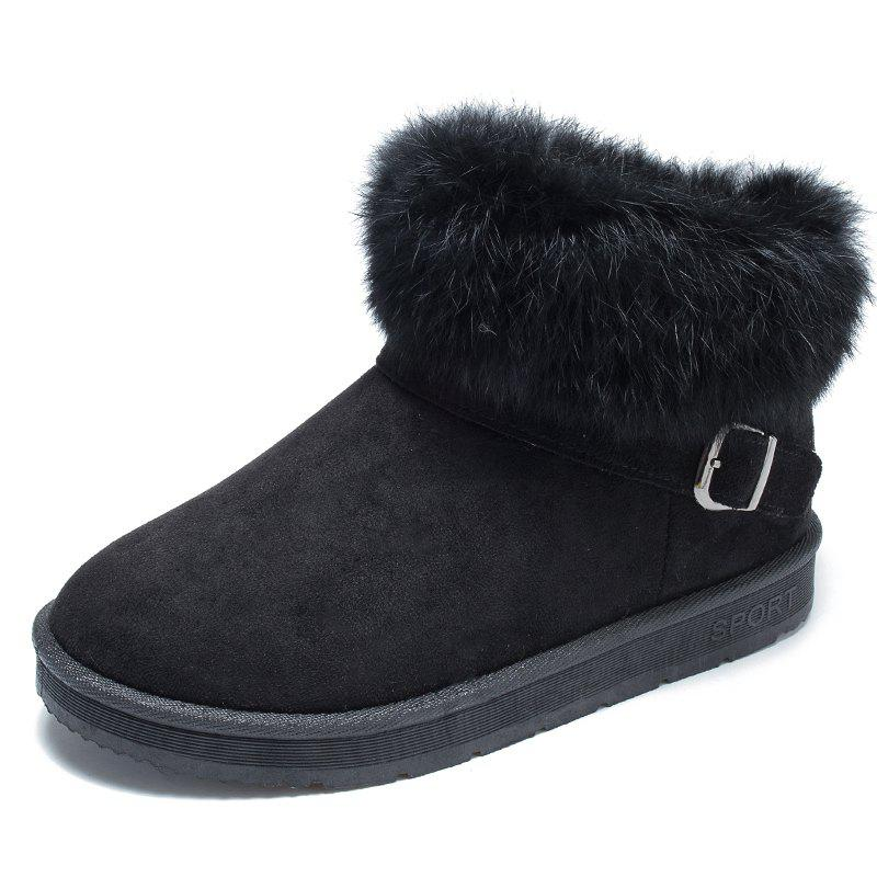 Fancy ADDA Autumn and Winter Plus Velvet High Shoes Snow Boots Cotton Shoes Real Rabbi
