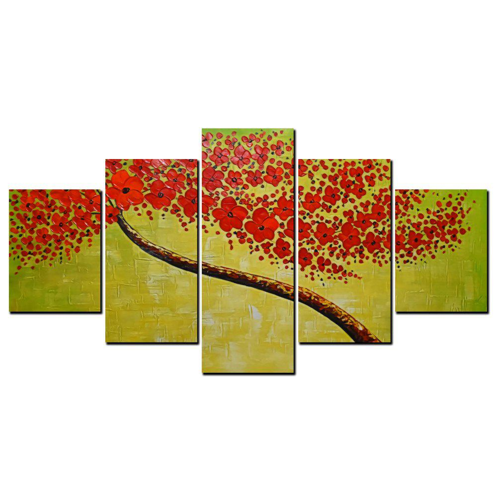 YISHIYUAN 5 шт. HD-струйные краски Red Abstract Rich Tree Decorative Painting
