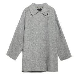 HAODUOYI Women'S Medium and Long Size Large Size Slimming Woolen Coat Gray -