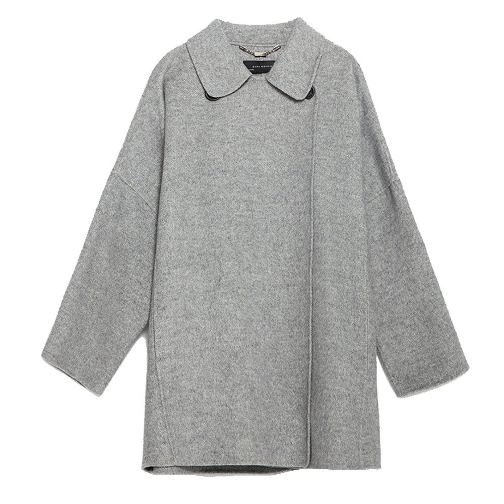 Shops HAODUOYI Women'S Medium and Long Size Large Size Slimming Woolen Coat Gray