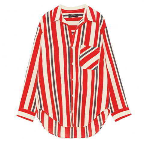 HAODUOYI Women's Casual Wind Lapels Loose Slim Striped Shirt Multicolor
