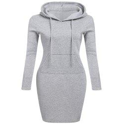 Autumn Winter Three Color Hooded Lace Pocket Sweater Dress Female -