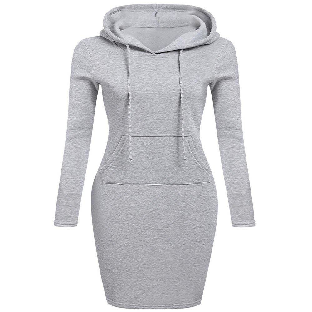 Shops Autumn Winter Three Color Hooded Lace Pocket Sweater Dress Female