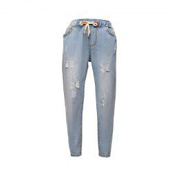 Women's Jeans Elastic Waist Washed Style Frayed Casual Pants -