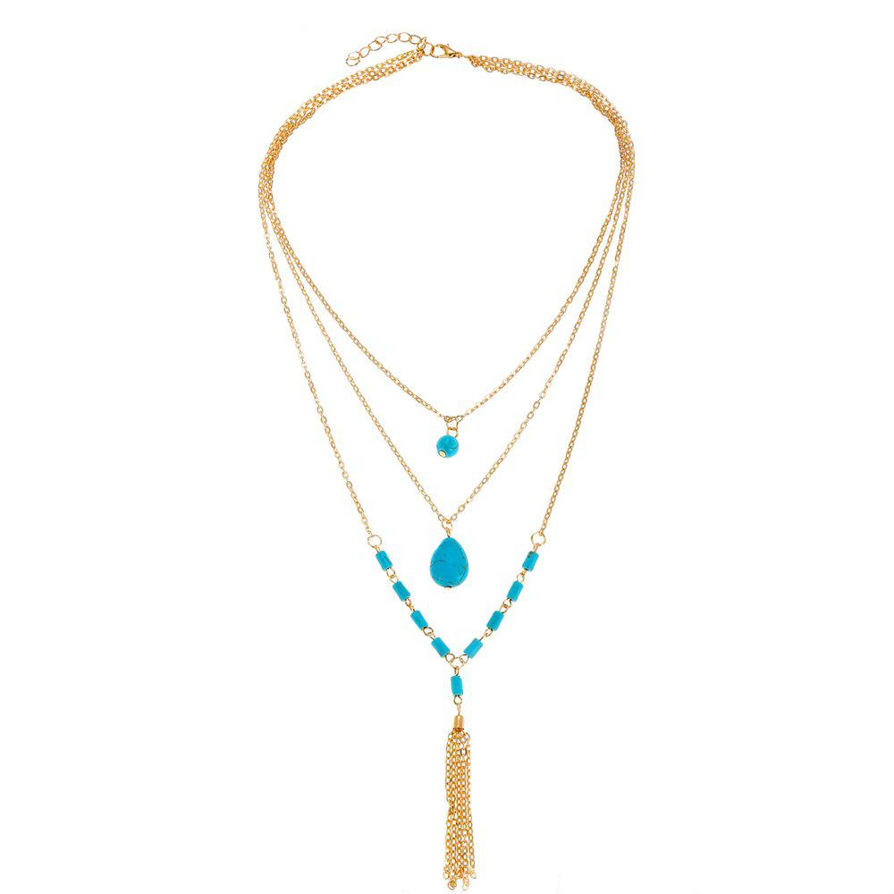 Collier pendentif turquoise vintage multicouche Or 1PC