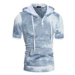 Men's Casual Slim Short Sleeve Hooded Thick T-shirt -