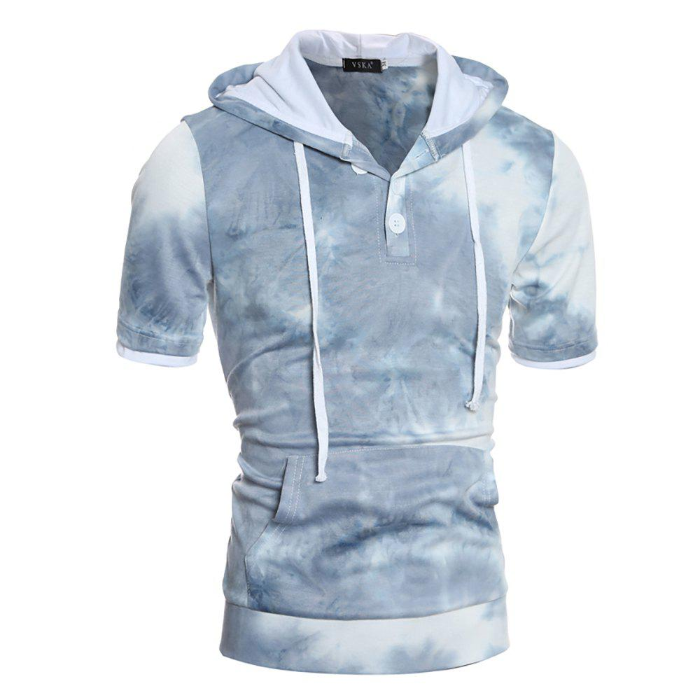 Shops Men's Casual Slim Short Sleeve Hooded Thick T-shirt