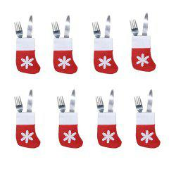 8 Pieces/Set Mini Christmas Stockings Dinnerware Cover Xmas -