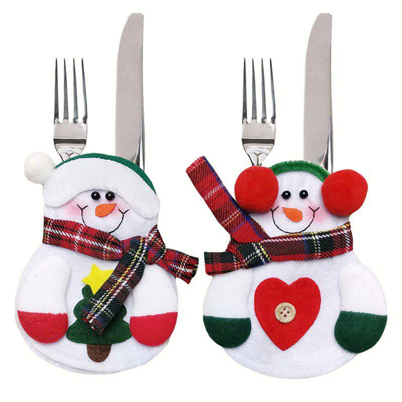 2PCS Xmas Decor Lovely Snowman Kitchen Tableware Holder Pocket Dinner Cutlery