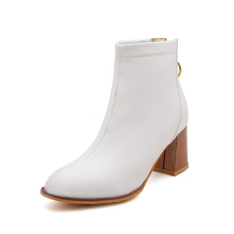 9fa61f3d986 2018 Round Head Rough And High Heeled Fashion Wild Boots In White Eu ...