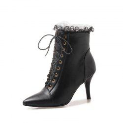 Fine Pointed Heels Sexy Lace Up Boots -