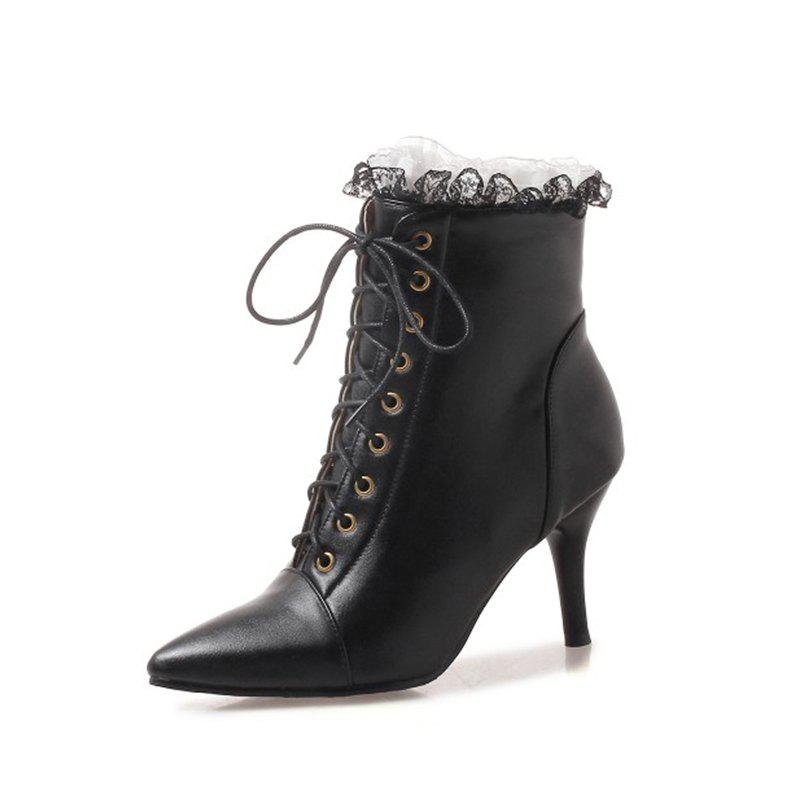 Best Fine Pointed Heels Sexy Lace Up Boots