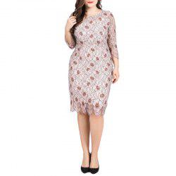Hollow Out 4/5 Length Sleeve Lace Sexy Party Dress -