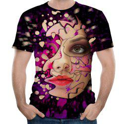 Summer Fashion Half Face 3D Print Men's Short Sleeve T-shirt -
