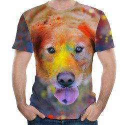 3D Summer Fashion Dog Head Print Mens Short Sleeve T-shirt -