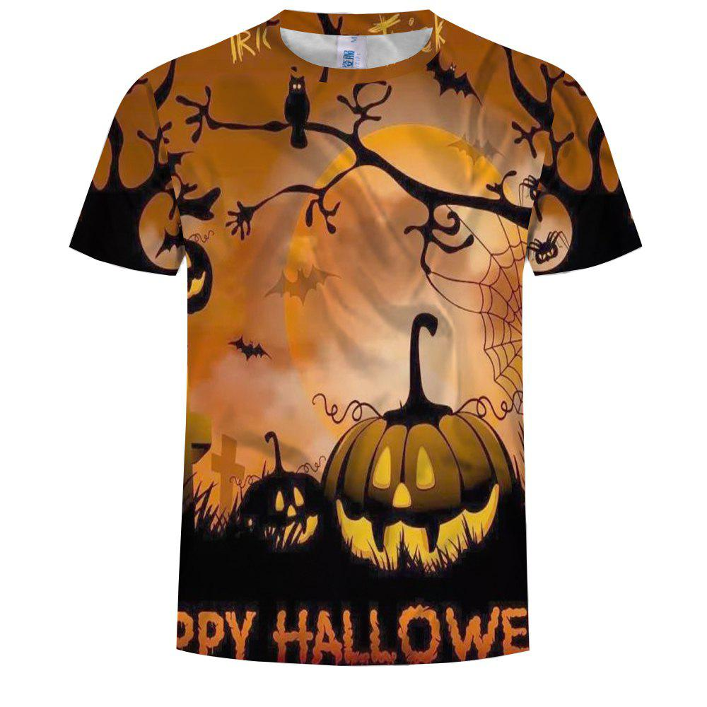 Outfits Fashion Men's 3D Print Halloween Pumpkin Pattern Short Sleeve T-Shirt