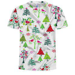Casual Personality Men's Printed Small Tree Bird Pattern Short-Sleeved T-Shirt -