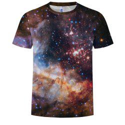 Fashion Round Neck Men's Short-Sleeved T-Shirt Digital Printing Starry Sky Patte -