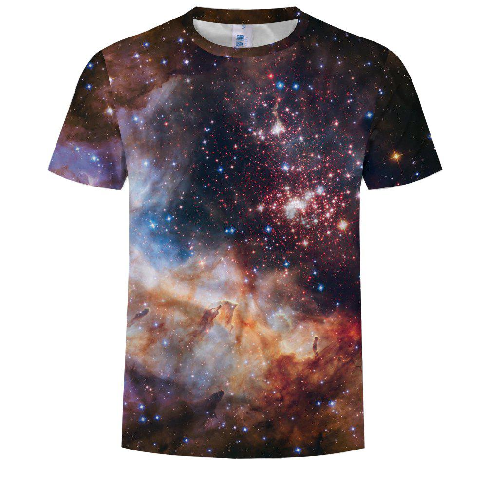 Unique Fashion Round Neck Men's Short-Sleeved T-Shirt Digital Printing Starry Sky Patte