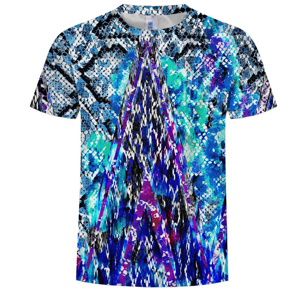 Chic Fashion Digital Printing Round Neck Men's Casual Short-Sleeved T-Shirt
