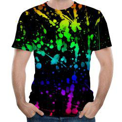 Fashion Round Neck Men's Splash Ink Watercolor Printed Short-Sleeved T-Shirt -